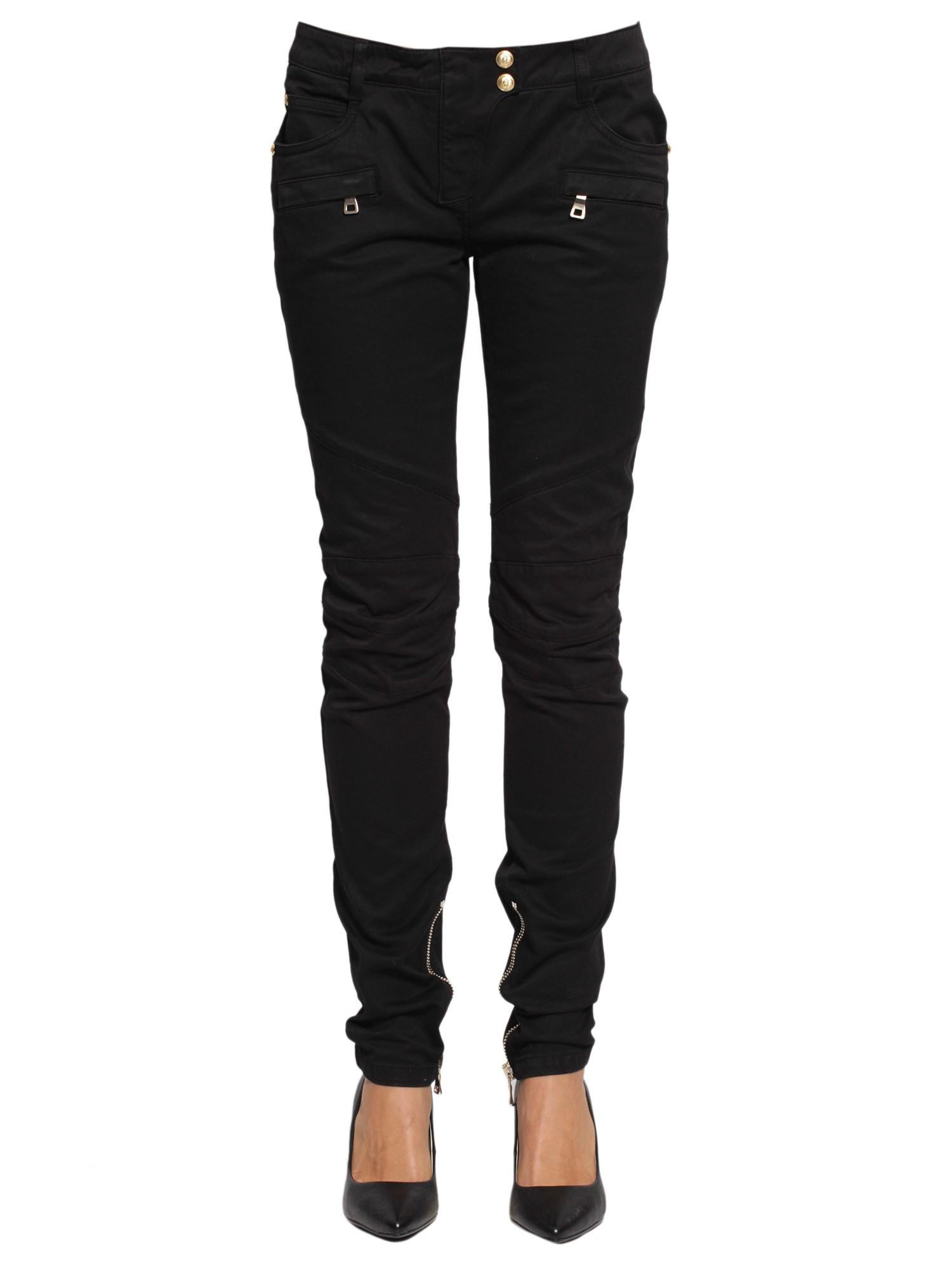 balmain jeans biker in black nero lyst. Black Bedroom Furniture Sets. Home Design Ideas