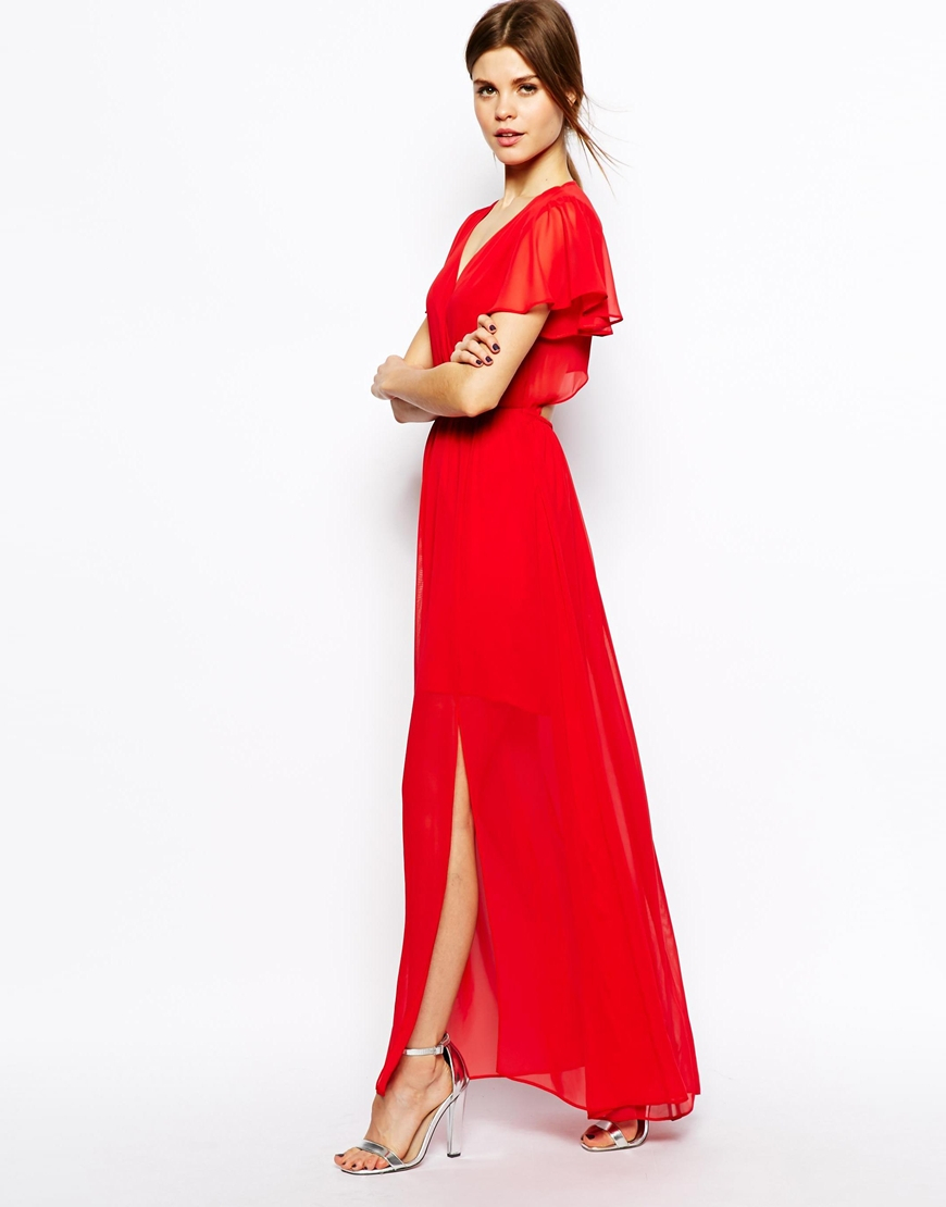 Asos Maxi Dress With Ruffle Sleeve in Red | Lyst