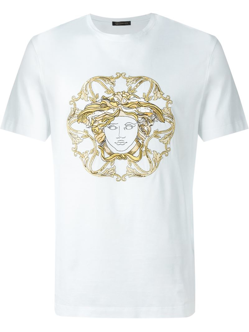 versace embroidered medusa t shirt in white for men lyst. Black Bedroom Furniture Sets. Home Design Ideas