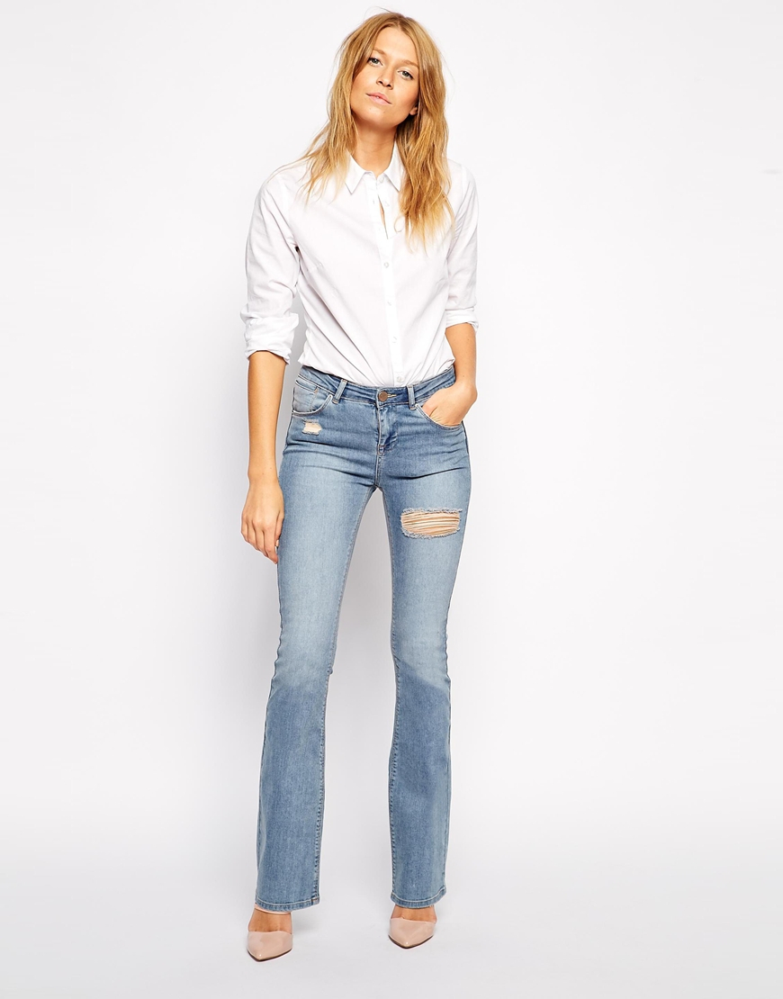 Asos Baby Kick Flare Jeans In Paloma Light Wash With Thigh Rip ...