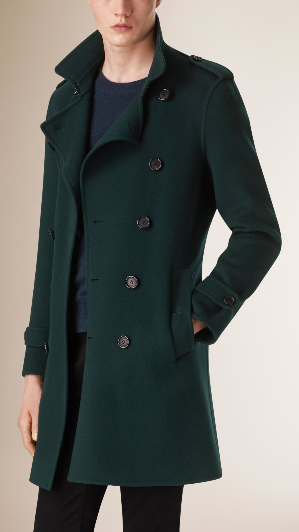 Lyst Burberry Wool Cashmere Blend Trench Coat In Green