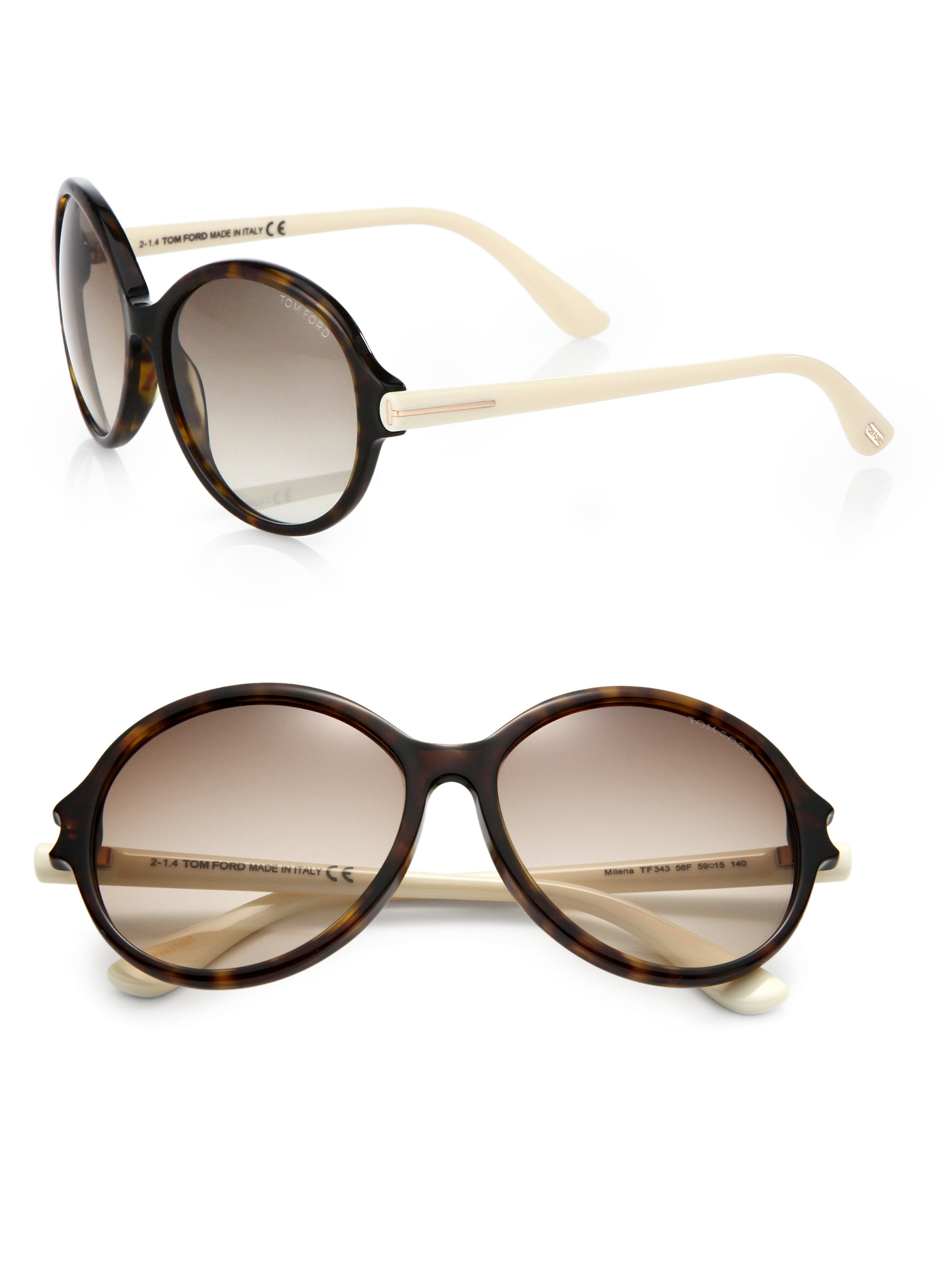 bb219092f3ce Lyst - Tom Ford Milena Round Sunglasses in Brown
