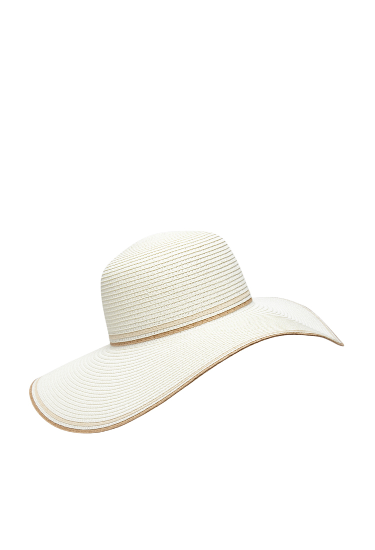 33fb84f358e45 Lyst - Forever 21 Contrast-trimmed Floppy Straw Hat in Natural