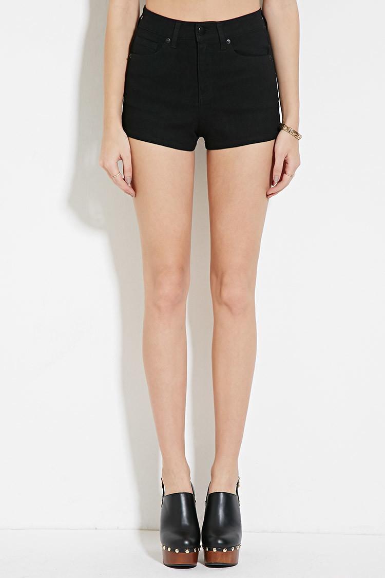 forever 21 highrise denim shorts in black lyst