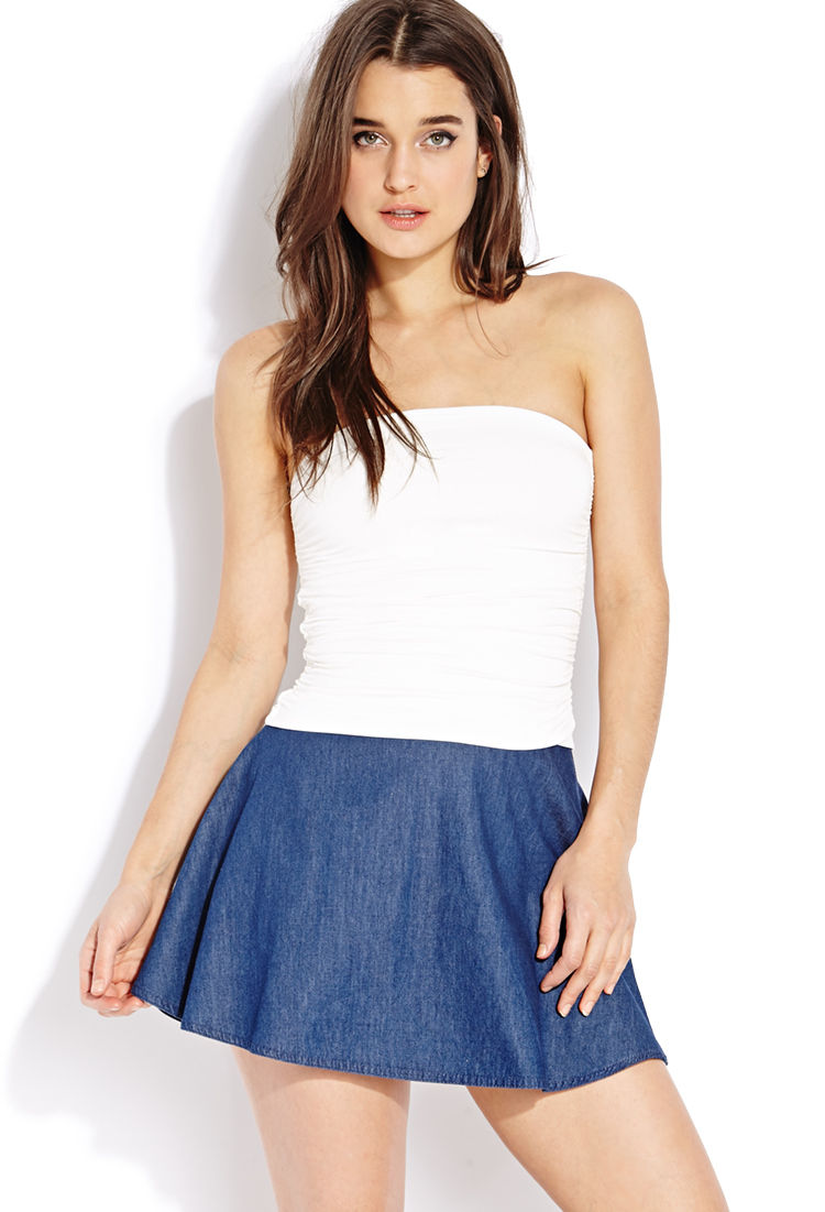 21 Best Grow Your Tarot Business Online Images On: Forever 21 Must-have Ruched Tube Top In White