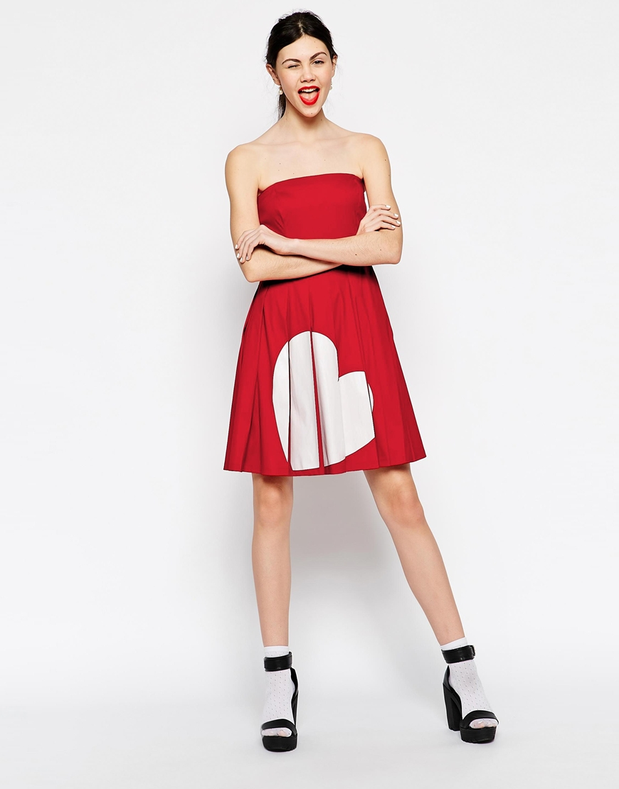 Love Moschino Pleated Skater Dress With Heart Print In Red