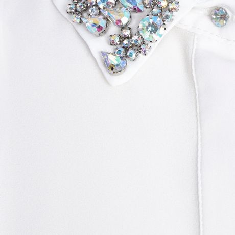 River Island White Embellished Collar Sleeveless Shirt In