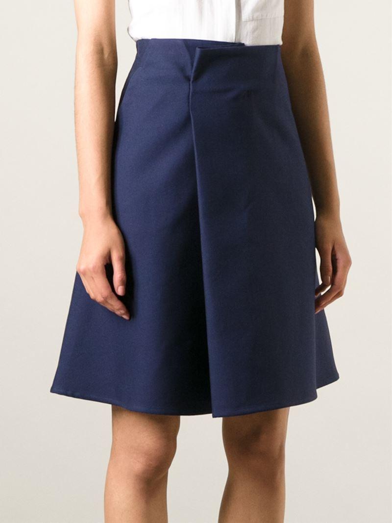 jil sander high waisted a line skirt in blue lyst