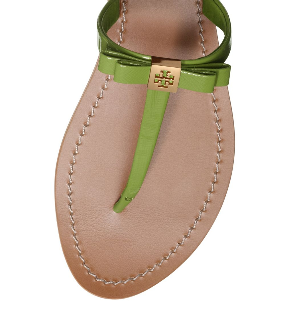 c222861316a Lyst - Tory Burch Leighanne Patent Flat Thong Sandal in Green