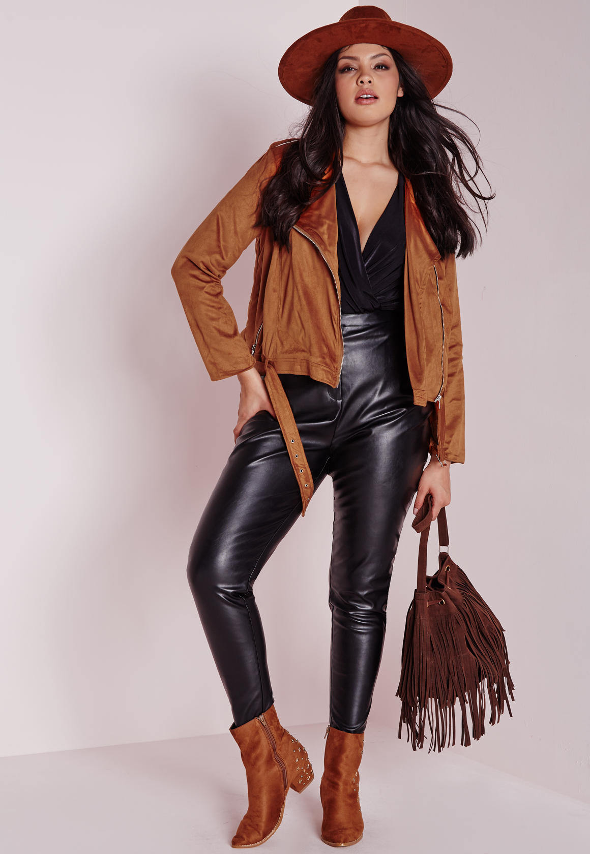 e6c5d216016 Lyst - Missguided Plus Size Faux Suede Biker Jacket Tan in Brown