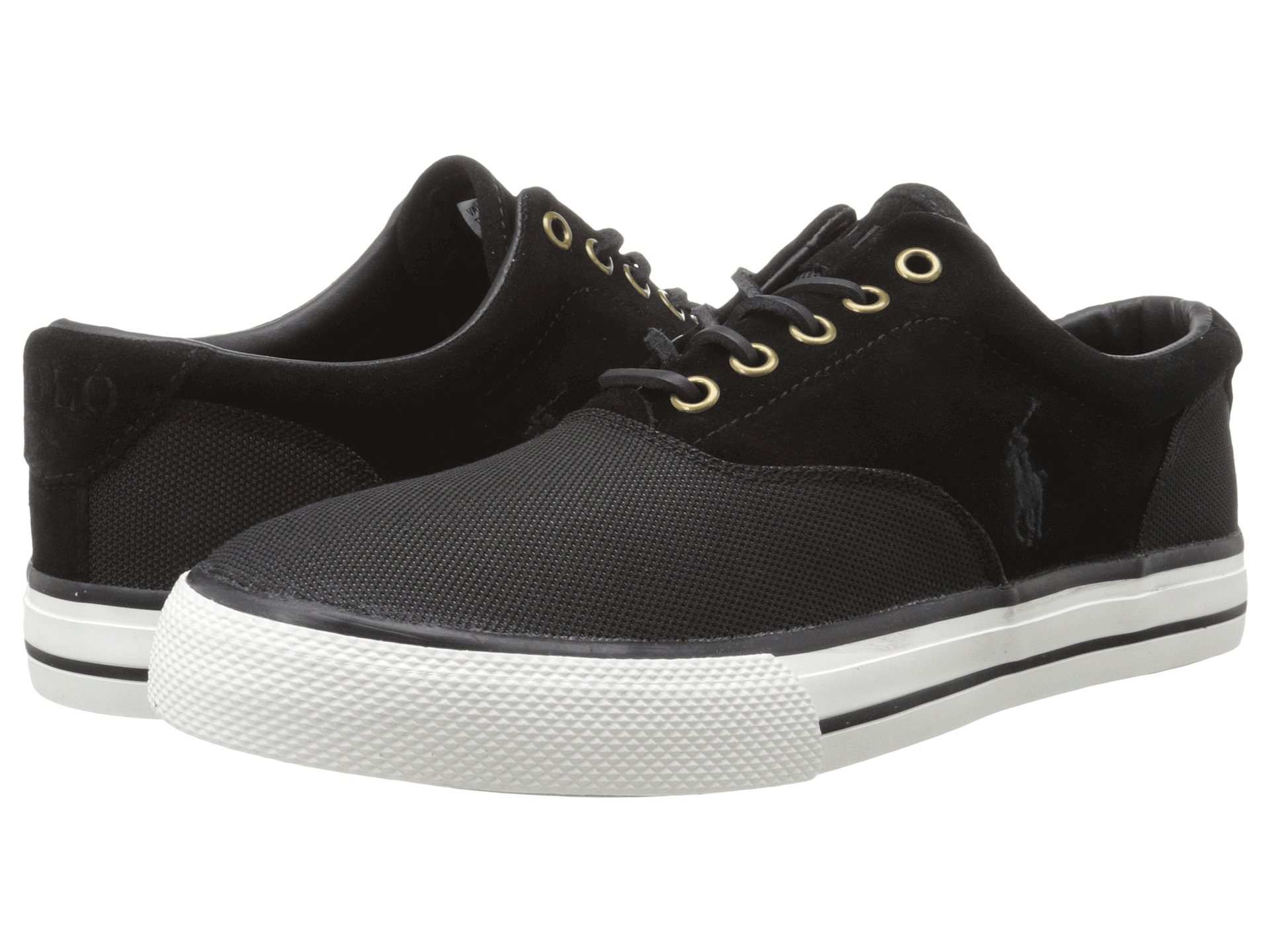 Top Fashion Mens Casual Shoes - Polo Ralph Lauren Vaughn Saddle Black Pique Nylon/Sport Suede