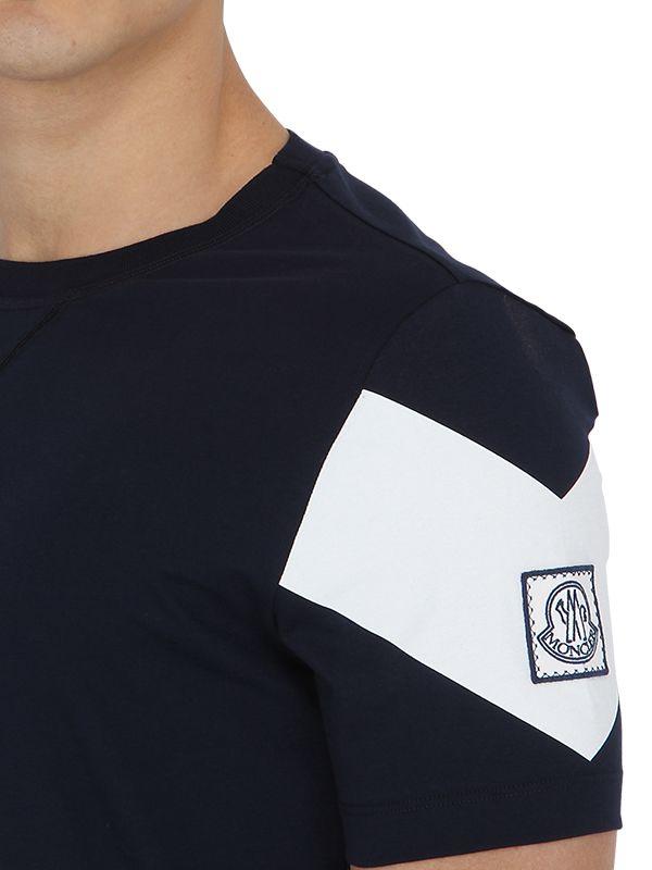 6a391d96bb38 In Cotton T Moncler Black Men Jersey Bleu Light Lyst For Shirt Gamme ...