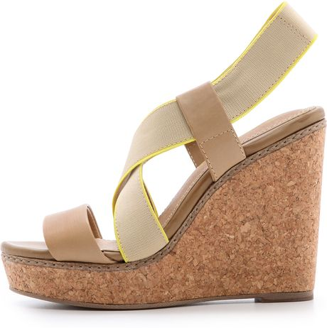 Splendid Kellen Cork Wedge Sandals Black In Beige Light