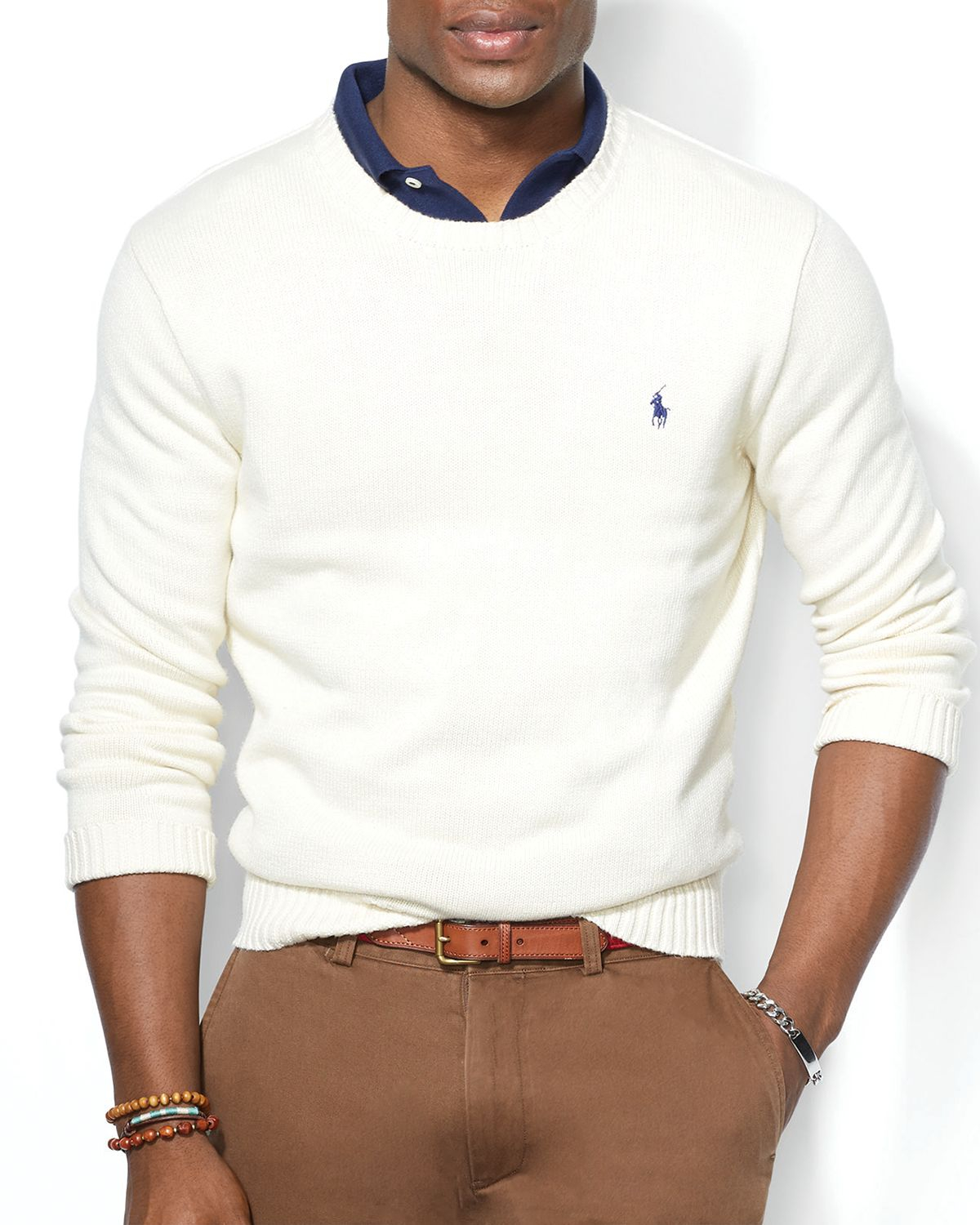 Ralph lauren Polo Cotton Crewneck Sweater in Natural for Men | Lyst