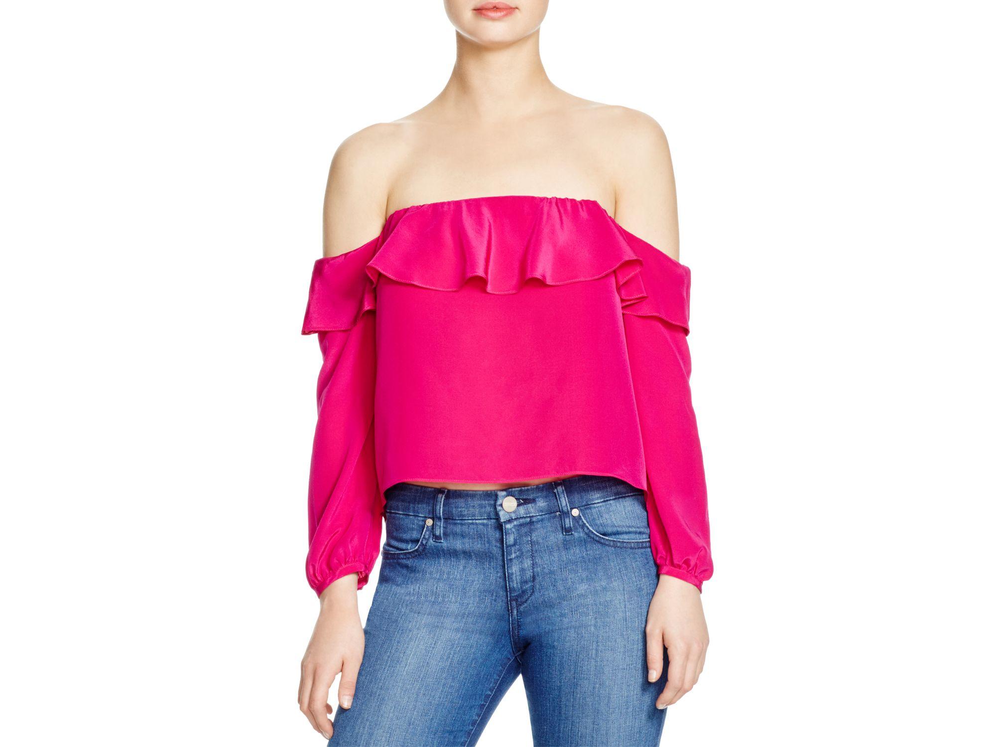 f274d76156152 Amanda Uprichard Silk Joanna Off Shoulder Top in Pink - Lyst