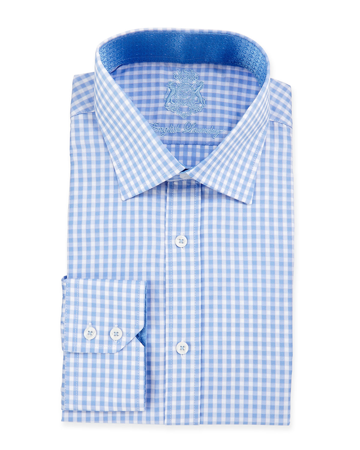 English Laundry Gingham Check Woven Dress Shirt In Blue