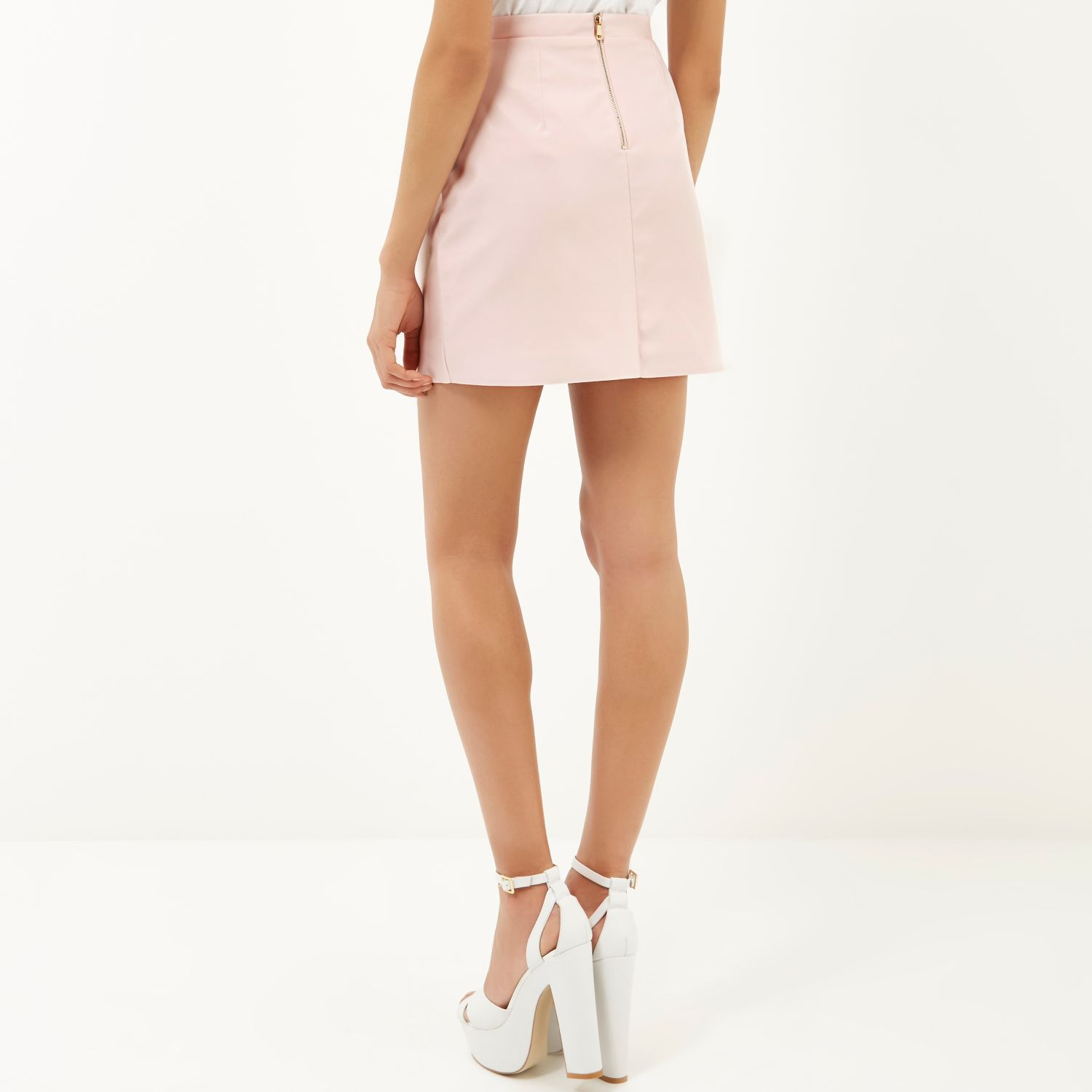 4917c9d391 River Island Light Pink Leather Skirt