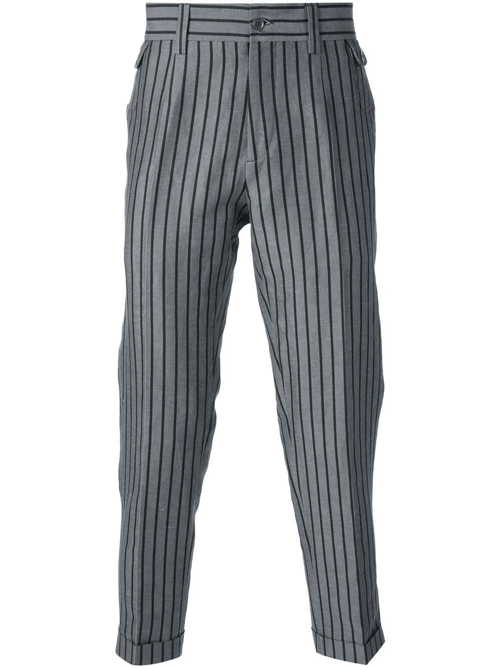 Dolce Amp Gabbana Striped Tapered Trousers In Grey Gray