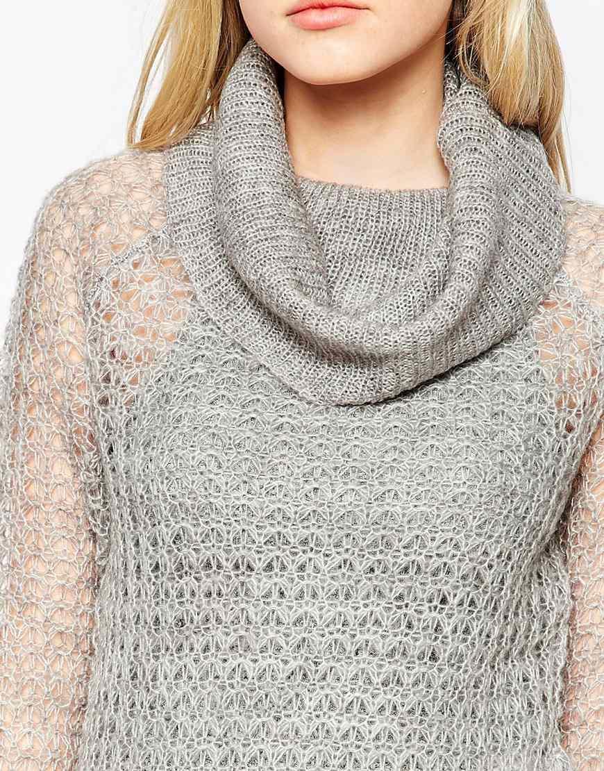 Vero Moda Knitting Patterns : Lyst vero moda cowl neck open knit jumper in metallic