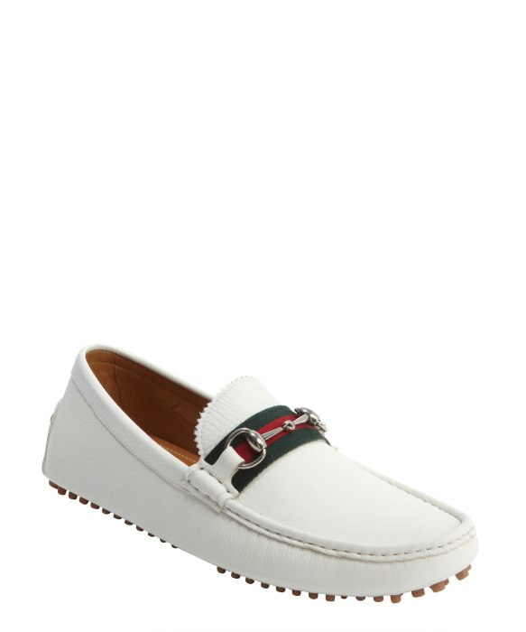 e85f7379d Toe Leather Gucci In Lyst Horsebit For Moc White Men Loafers qxT1R7TSw