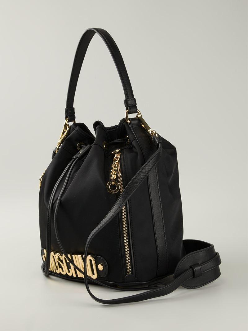 Lyst Moschino Logo Bucket Shoulder Bag In Black