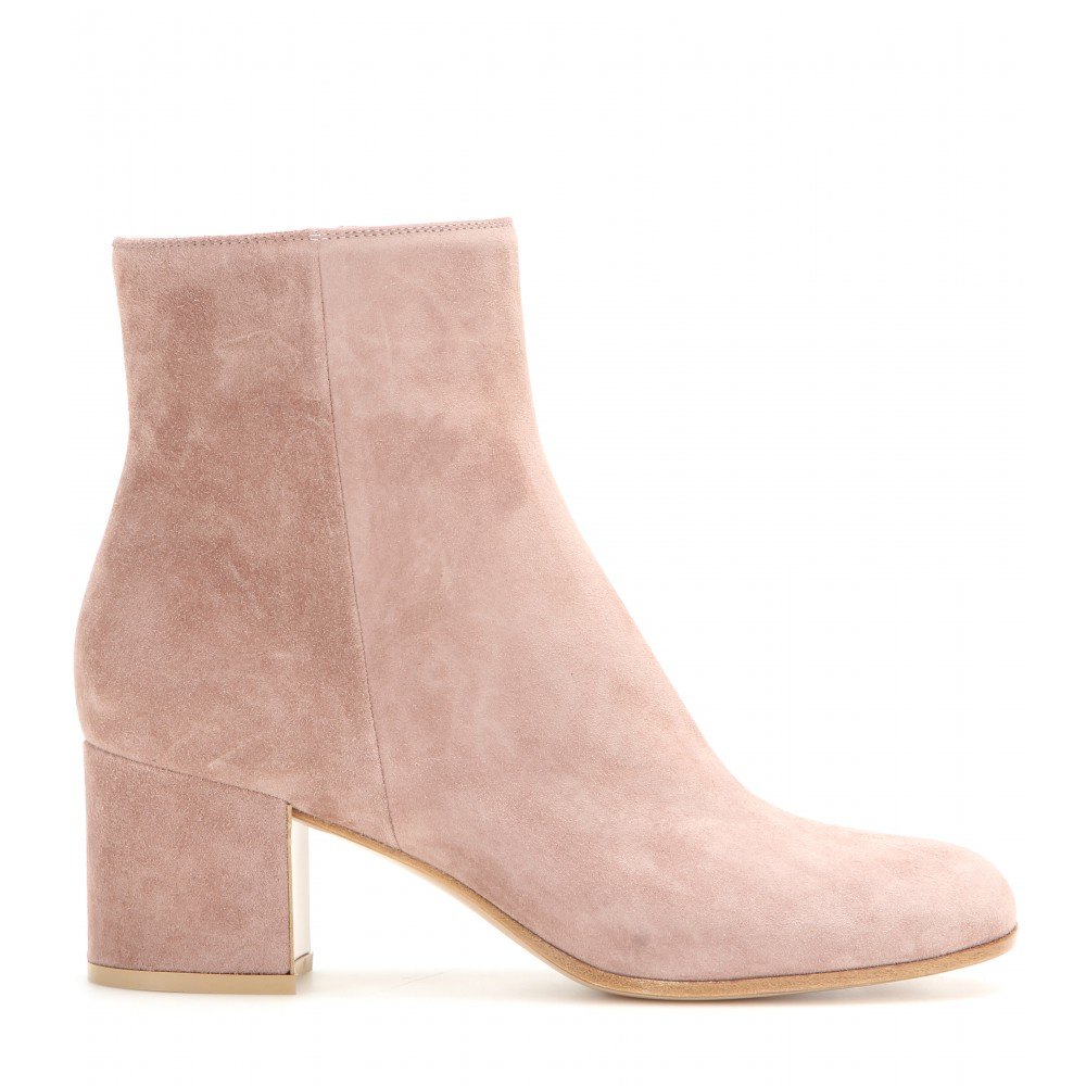 gianvito suede ankle boots in pink lyst