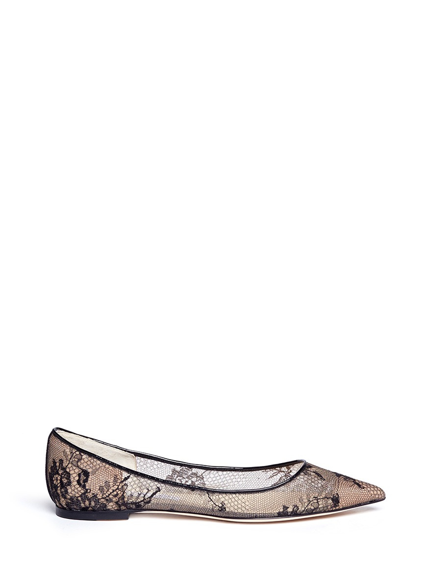 lyst jimmy choo alina floral lace ballet flats in black. Black Bedroom Furniture Sets. Home Design Ideas