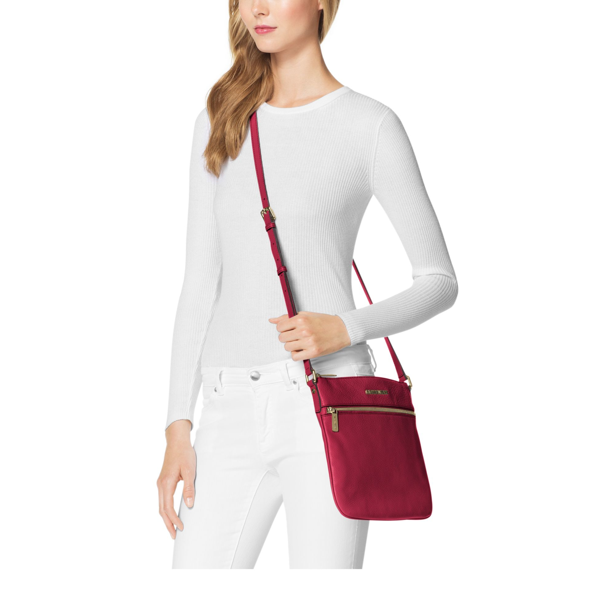 339ec777b6529 ... promo code for lyst michael kors bedford leather crossbody in red 23a3c  65dd6