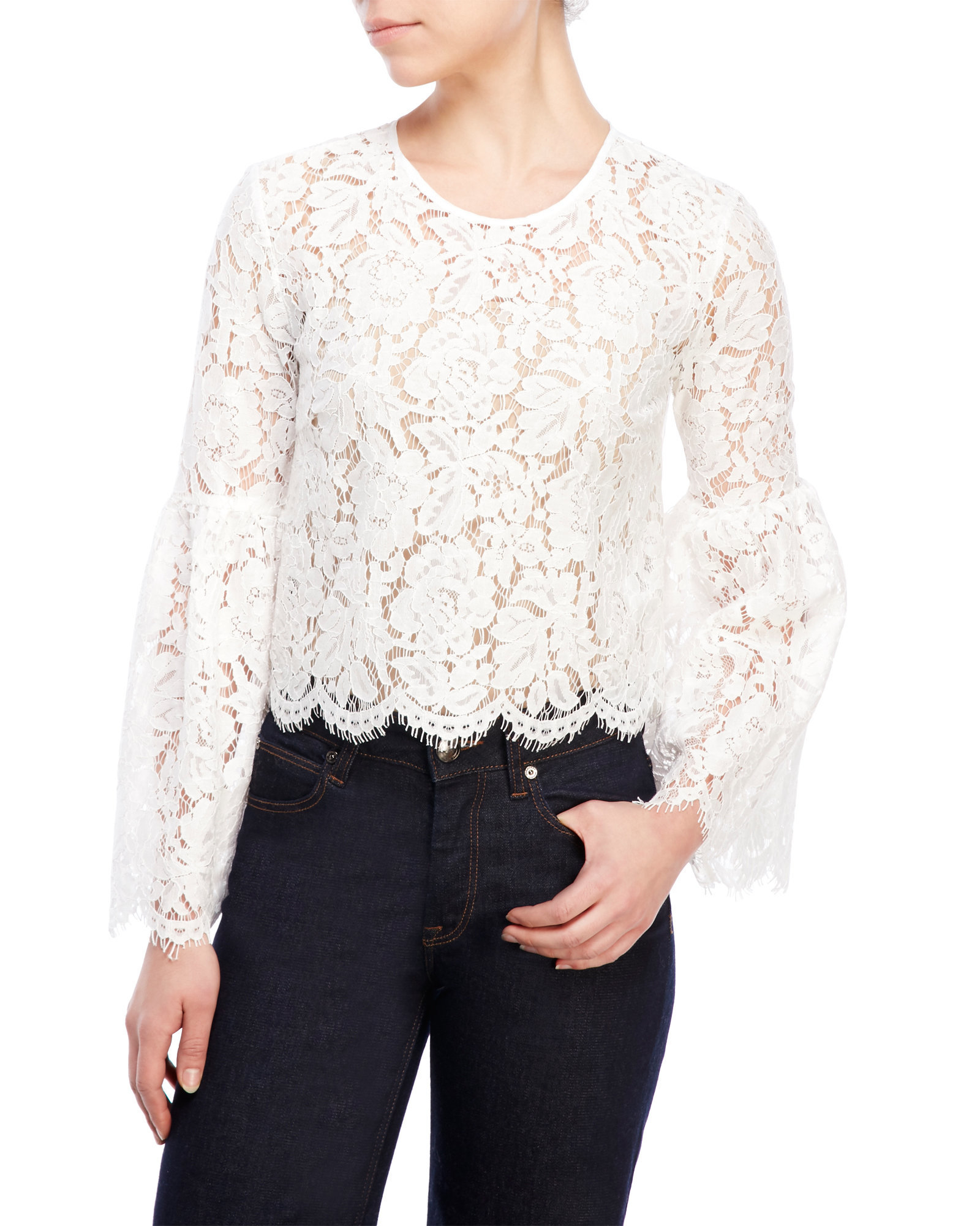 Lyst - Mustard Seed Bell Sleeve Lace Top in White