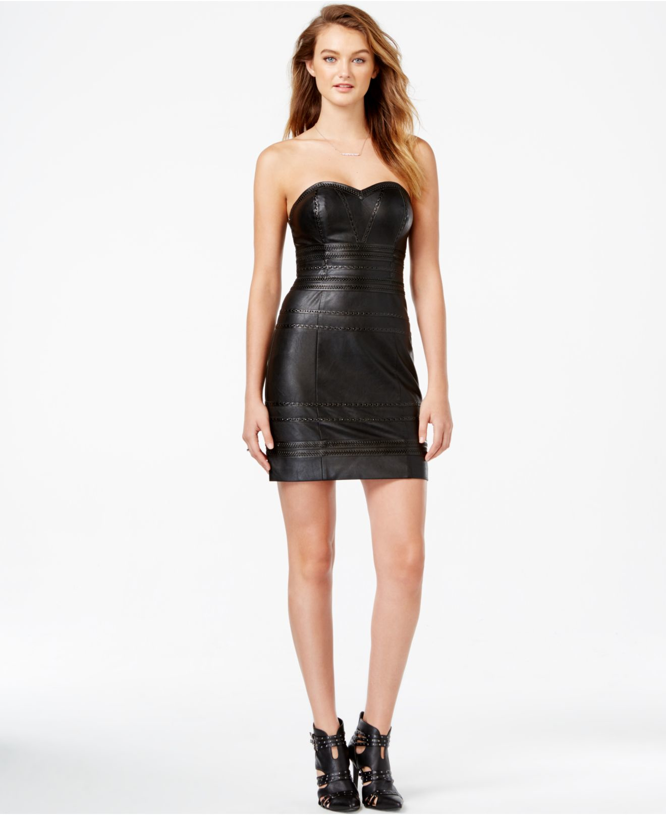 Guess Strapless Faux-leather Bodycon Dress in Black  Lyst