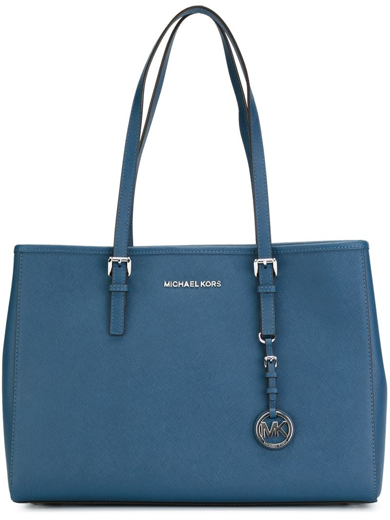 michael michael kors 39 jet set travel 39 tote in blue lyst. Black Bedroom Furniture Sets. Home Design Ideas