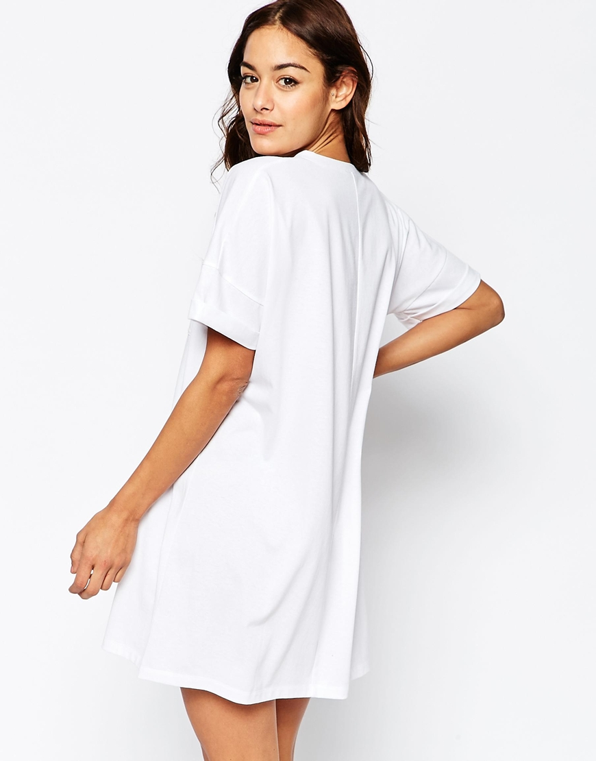 Asos Casual Oversize T-shirt Dress With Pocket in White
