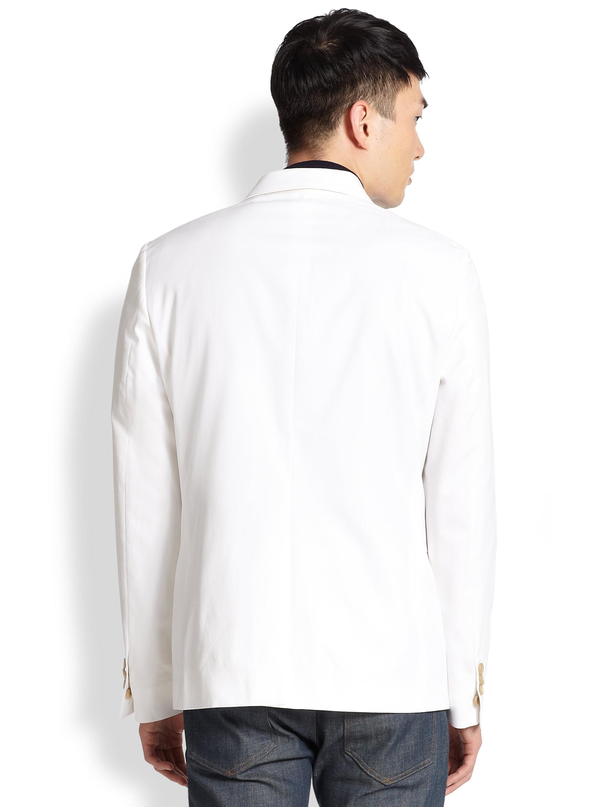 Atelier scotch slim cotton smoking blazer in white for men for Atelier maison scotch