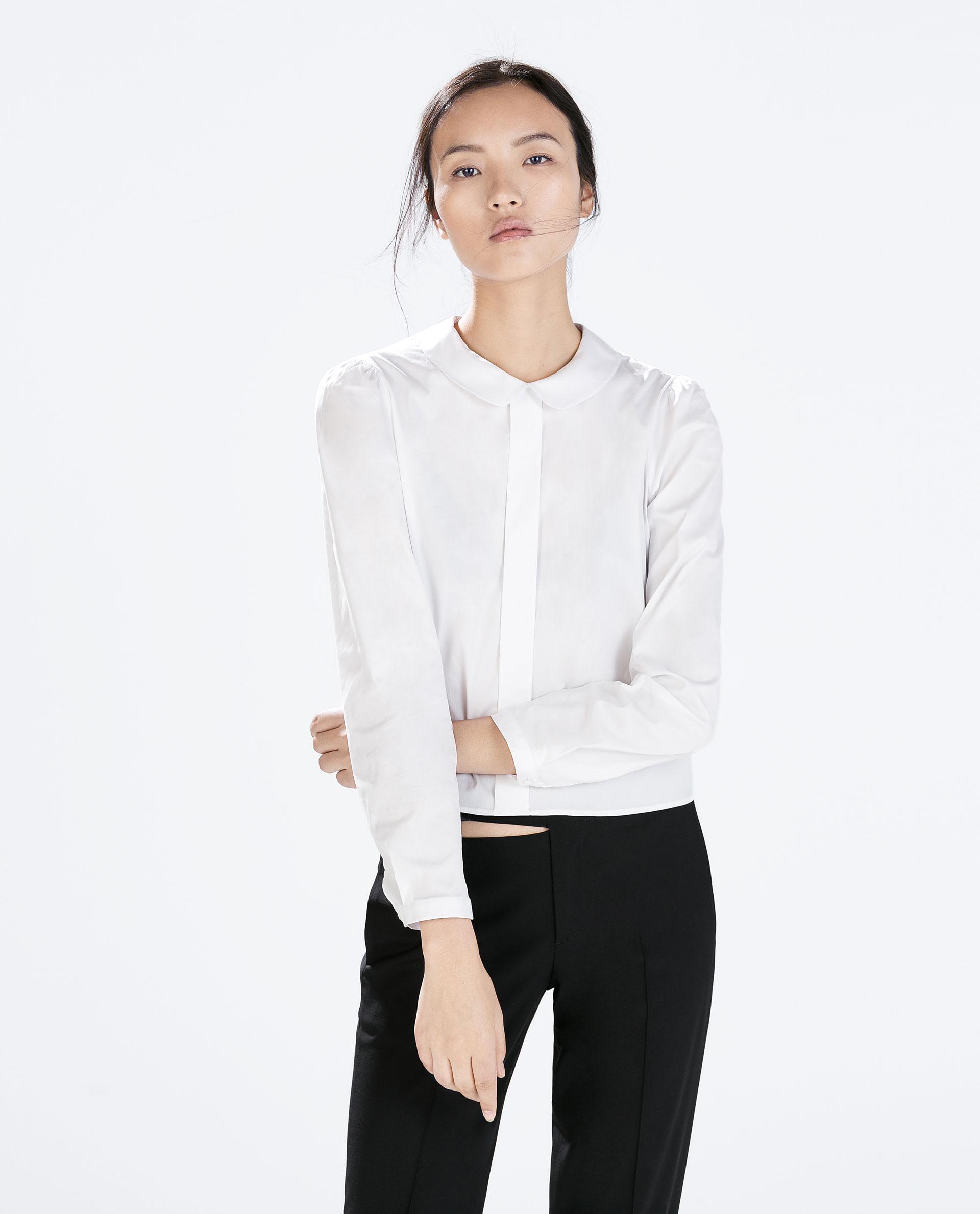 Womens Peter Pan Collar White Blouse 90