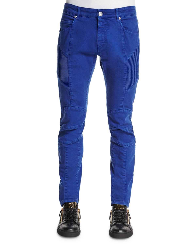 balmain slim fit moto denim jeans in blue for men lyst. Black Bedroom Furniture Sets. Home Design Ideas
