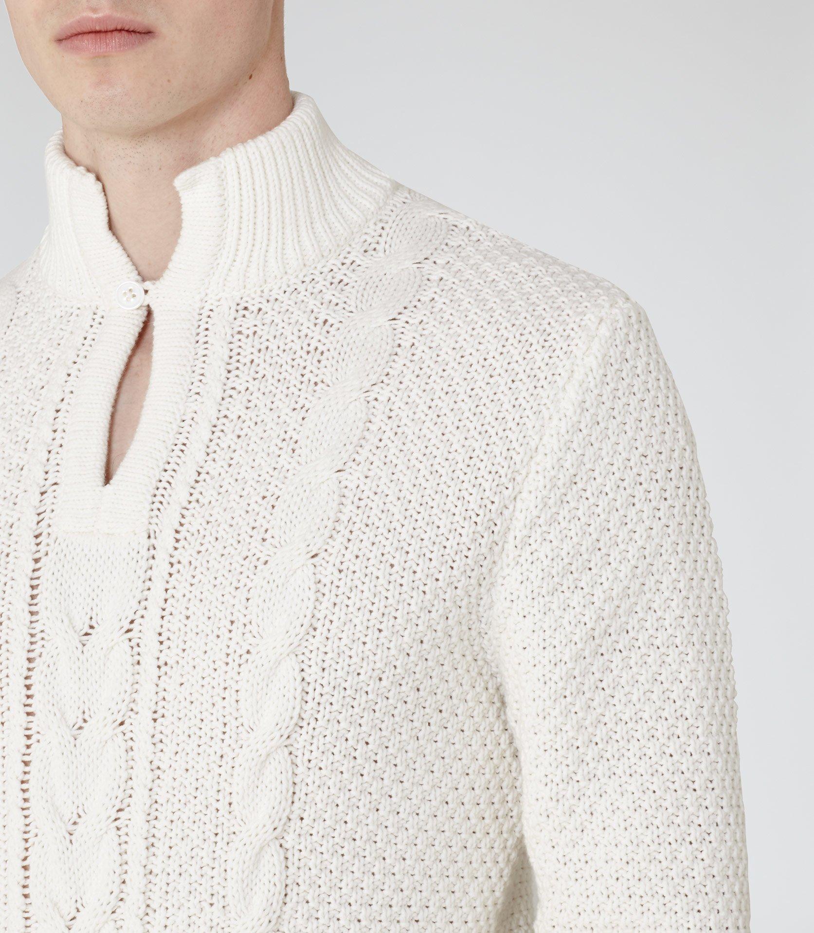 Reiss Denim Rigger Collared Cable Knit Jumper in Ecru (White) for Men