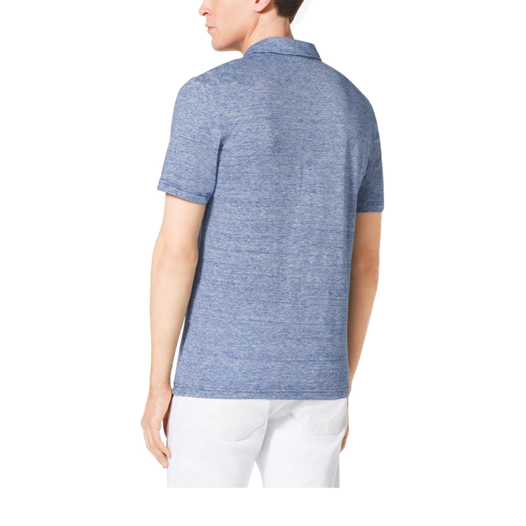 Michael Kors Linen And Cotton Polo Shirt In Blue For Men