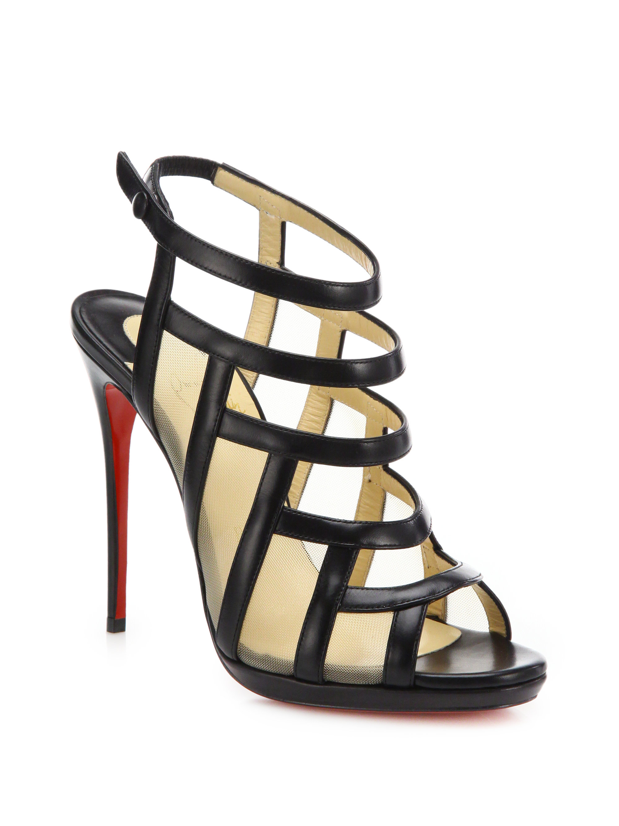 chris louboutin website - christian louboutin caged sandals Black and beige leather covered ...