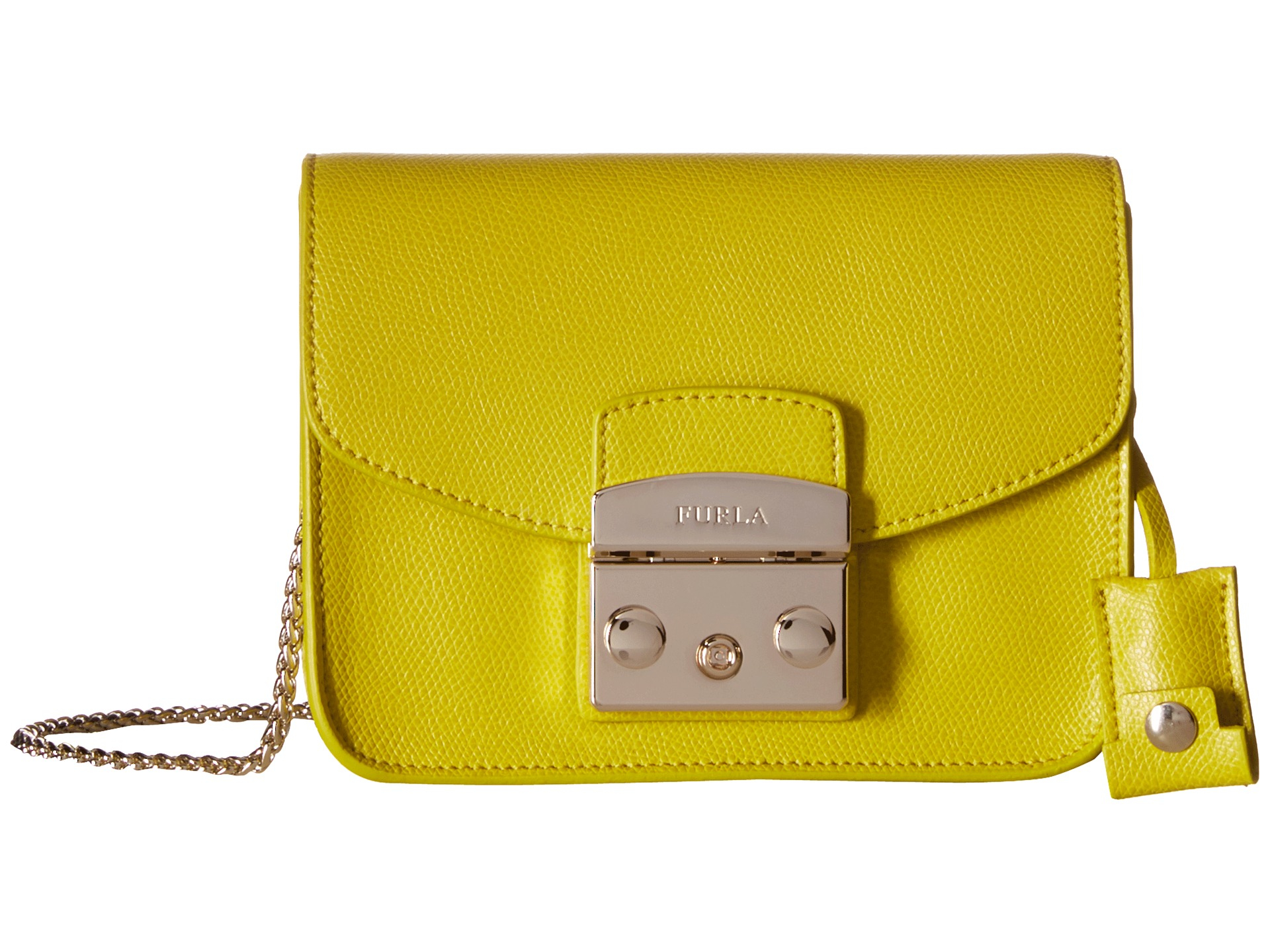 first look special section later Furla Leather Metropolis Mini Crossbody in Jade (Yellow) - Lyst