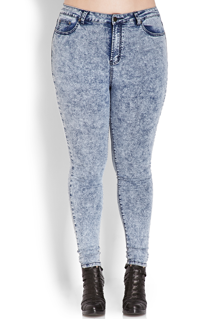 0cd3bb81588 Lyst - Forever 21 Plus Size High-waisted Acid Wash Jeans in Blue