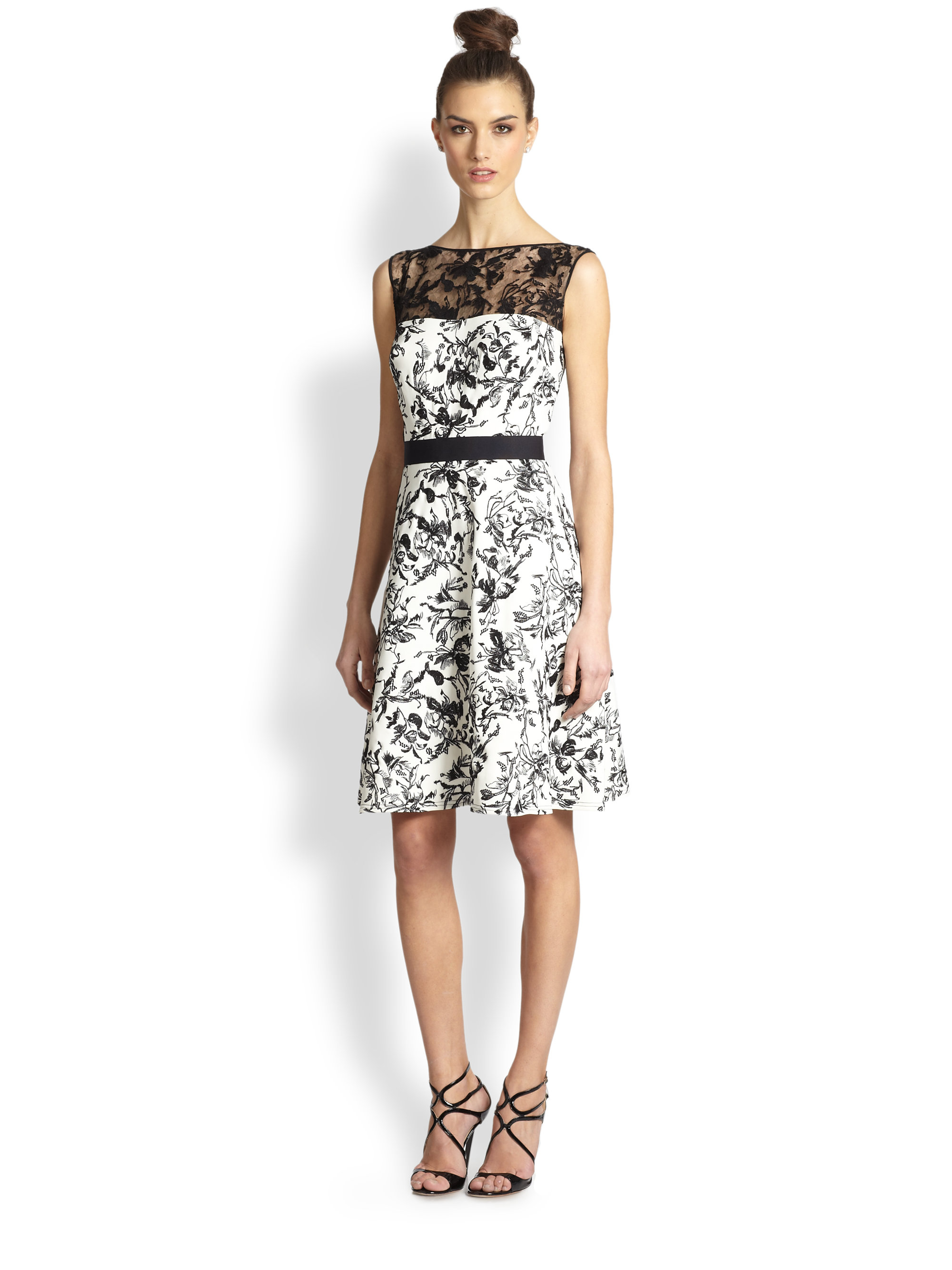 Lyst - Tadashi Shoji Lace-Trimmed Toile Cocktail Dress in Black