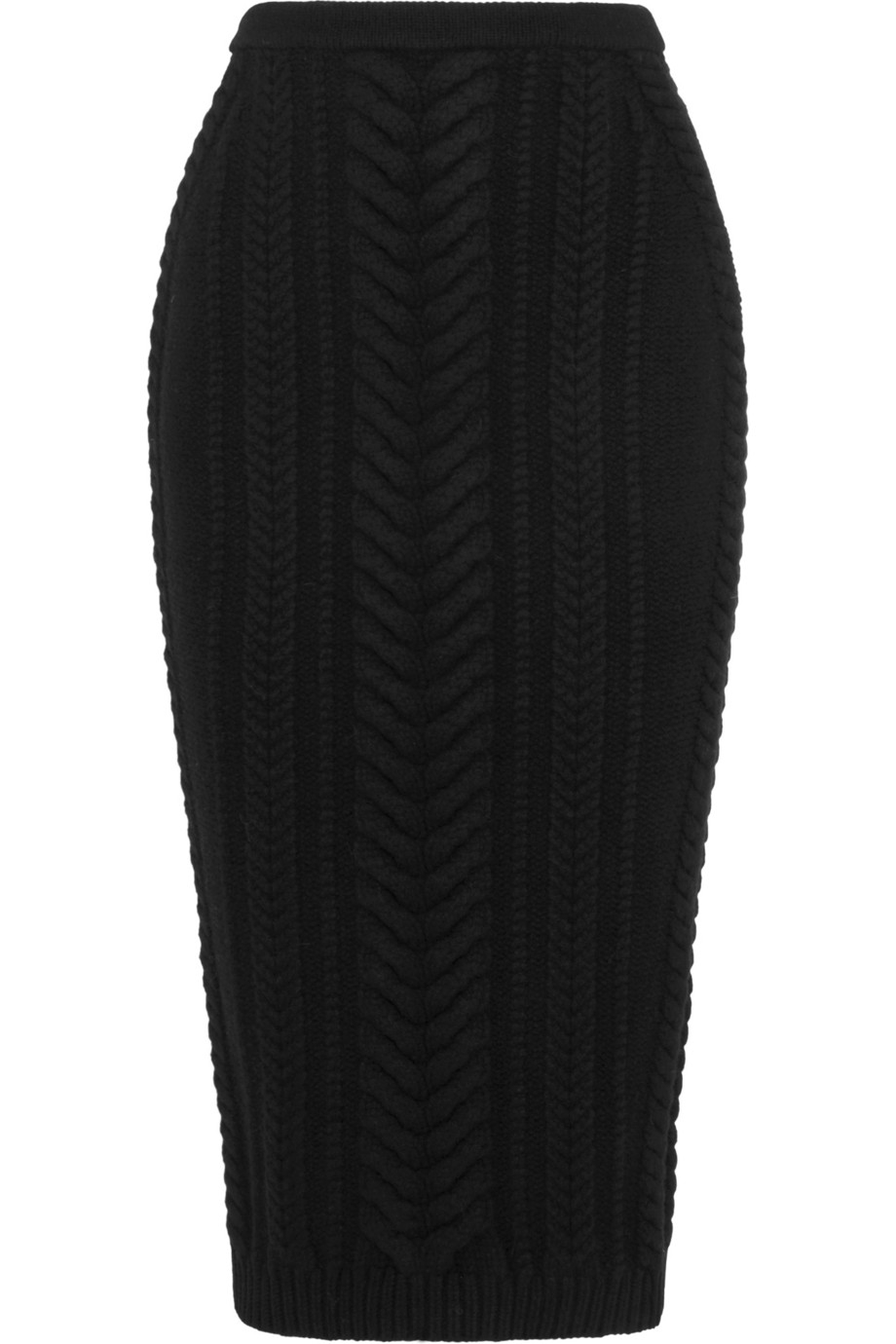 Balmain Cable-Knit Wool Skirt in Black | Lyst