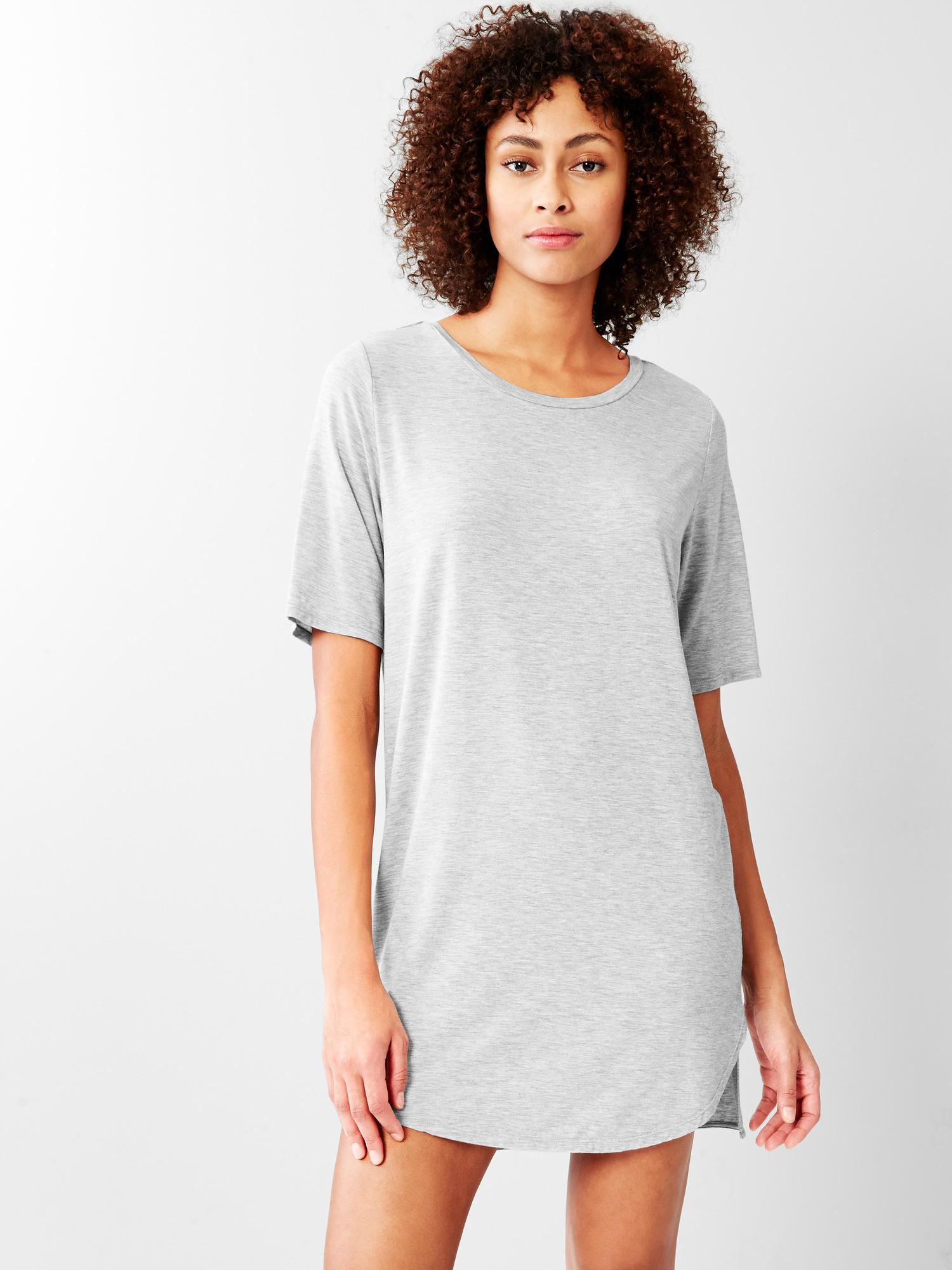 Gap pure body essentials t shirt dress in gray light for Gap petite t shirts