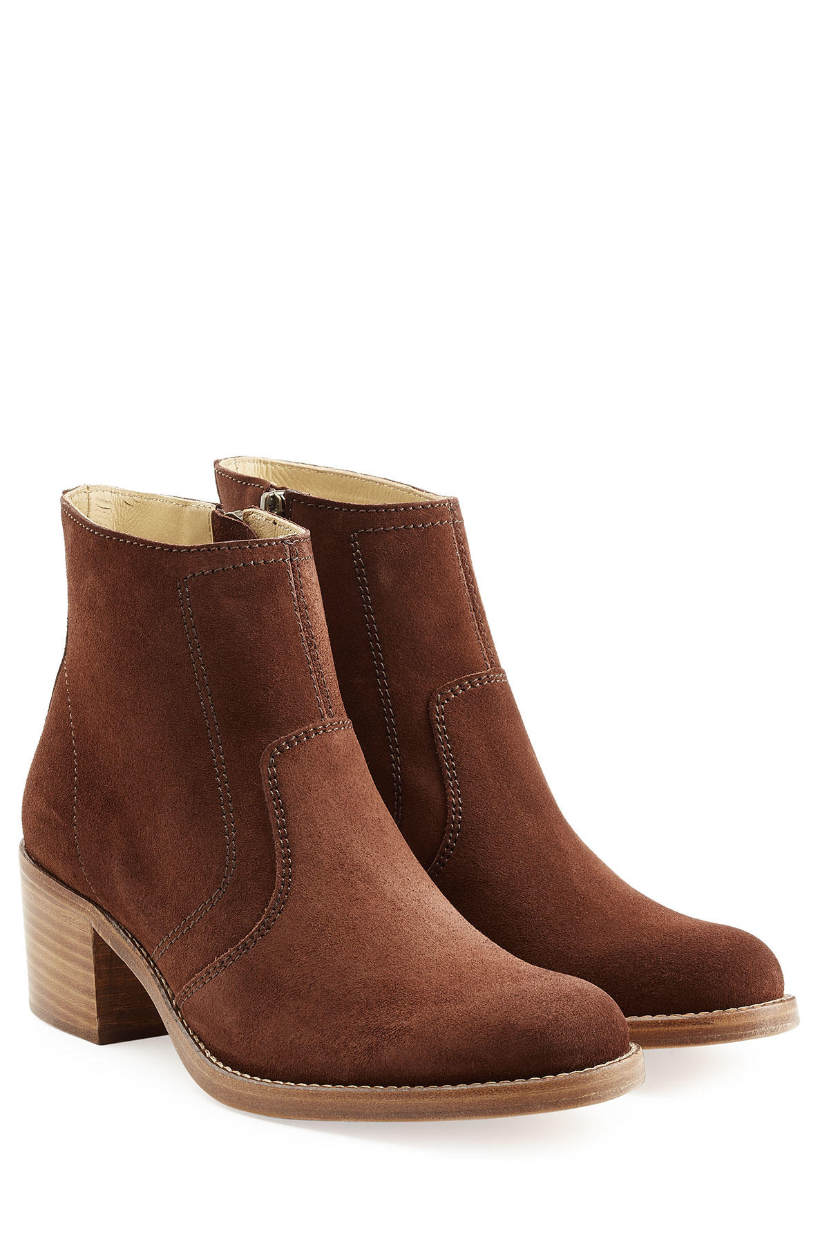 a p c suede ankle boots brown in brown lyst