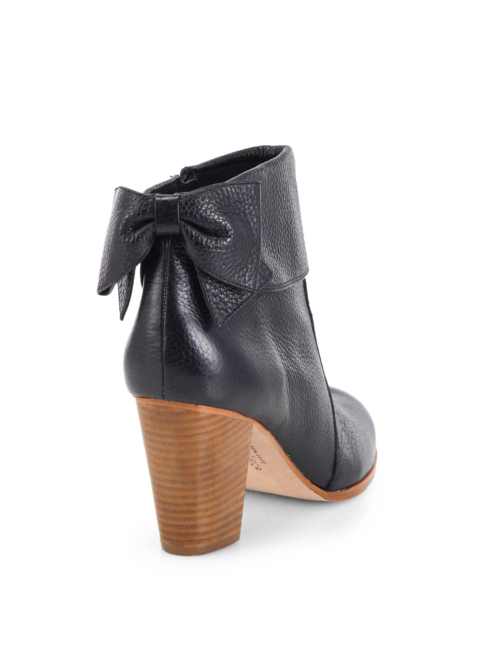 Kate spade new york Lanise Bow Leather Ankle Boots in Black | Lyst