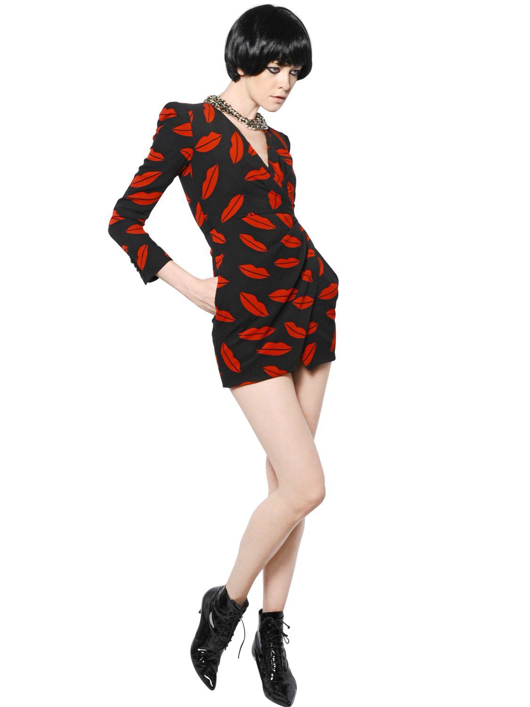 Saint Laurent Lips Printed Silk Georgette Dress In Black