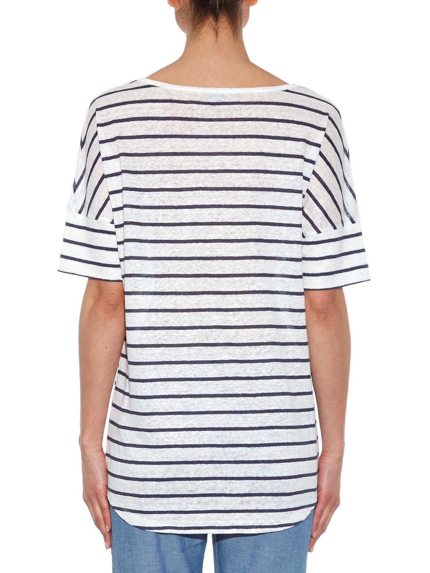 Vince Striped Short Sleeved Linen T Shirt In Blue White