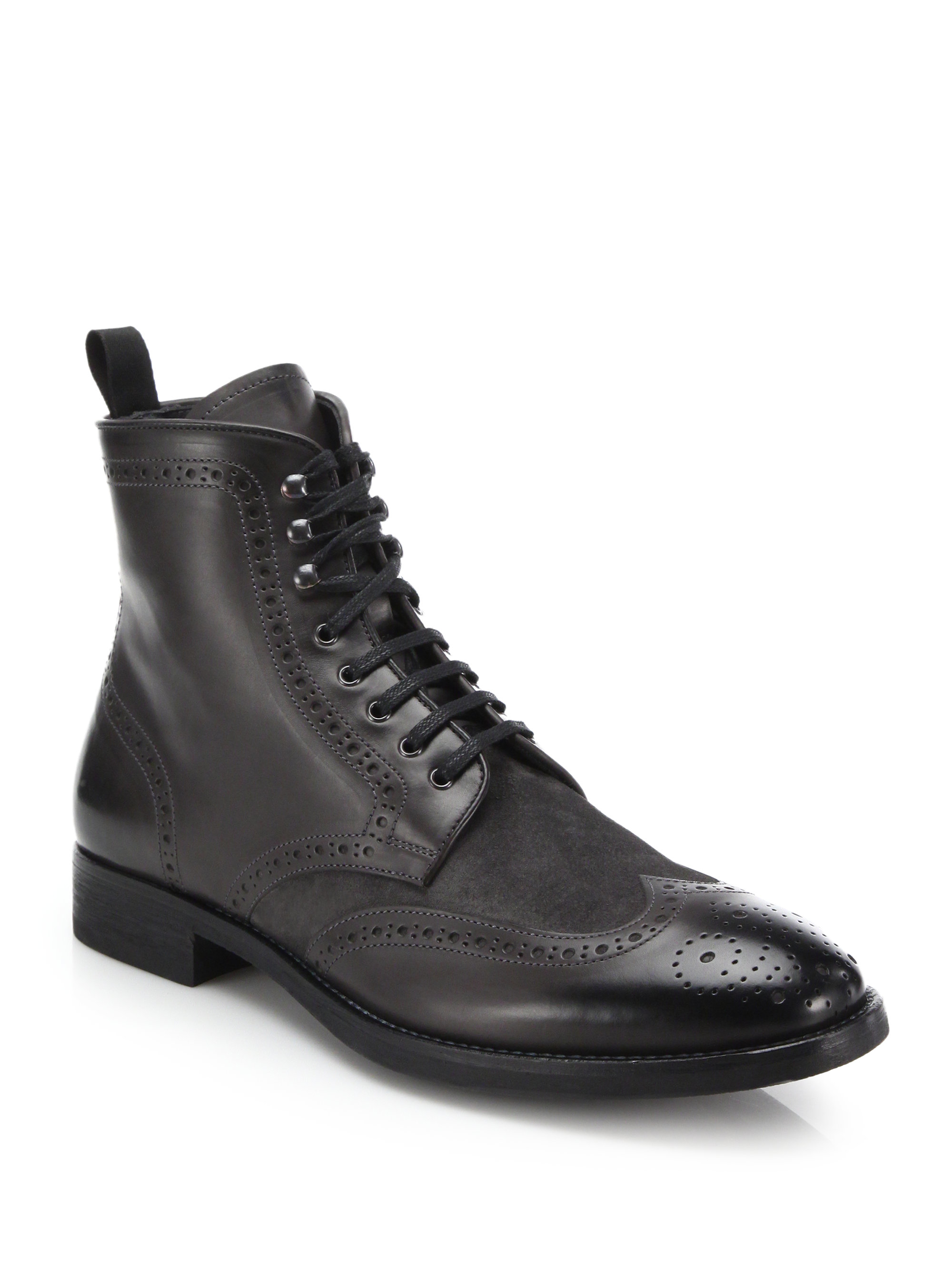 Lyst To Boot Brennen Mixed Media Wingtip Boots In Gray
