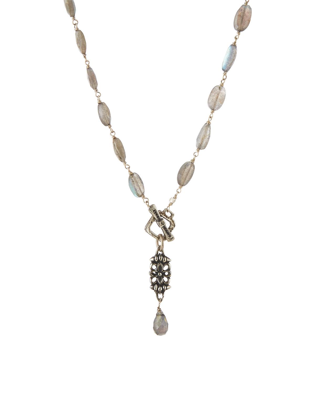 Bavna Labradorite & Pearl Tassel Pendant Necklace ghfuG7