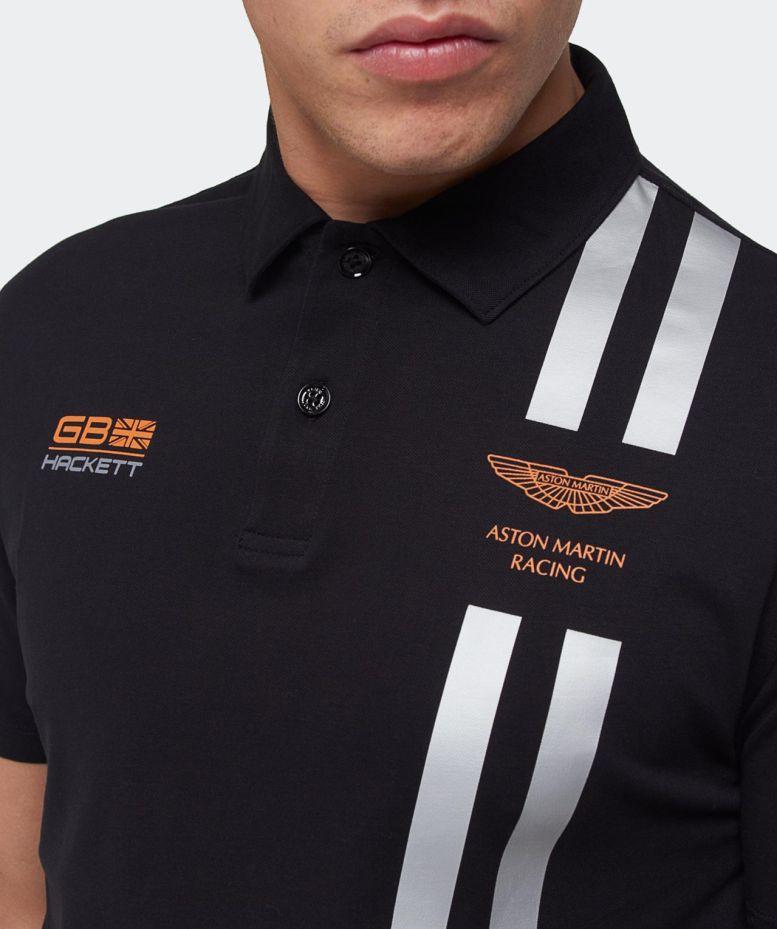 Hackett Aston Martin Racing Stripe Polo Shirt In Black For